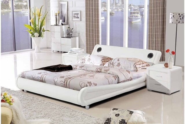 White designer bed with bluetooth and radio